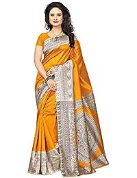 Varayu Women's Kalamkari Printed Poly Silk Saree With Unstitched Blouse Piece
