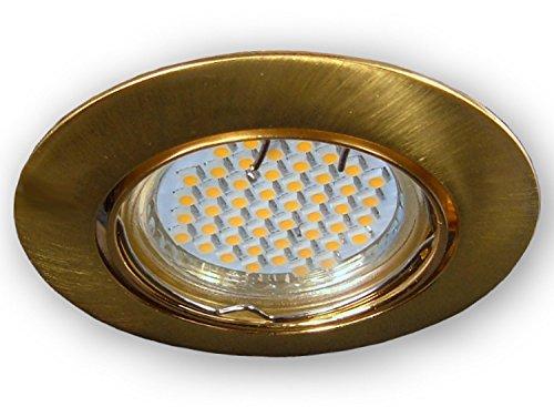 LED Einbaustrahler GU10 230 V 0149 messing gebürstet - 3er SET Einbauleuchten Spots Strahler inkl. 3.5 W LED (60 SMD) Leuchtmittel und GU10 Fassung - Deckeneinbaustrahler Deckeneinbauspot Einbauspot