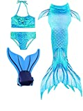 ShePretty Queues de Sirène Mermaid Bikini Maillots de Bain Costume Cosplay pour Filles Multicolore - Dh0606 - Taille 130