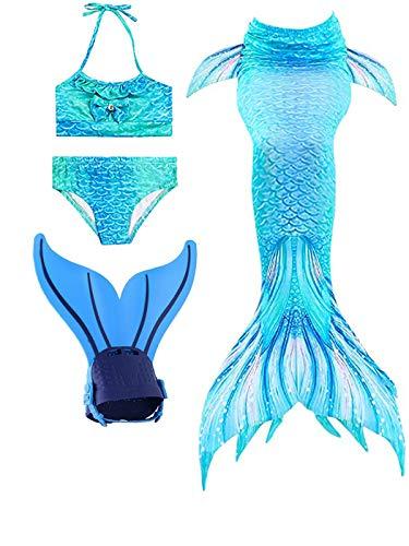 Shepretty ragazze coda da sirena bikini cosplay costumi da bagno set per nuotare per bambini,dh0606,130