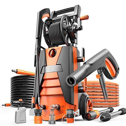 GNSDA Elektrischer Hochdruckreiniger 2300PSI 2GMP - mit Pistolen, Pistolengriffen, Wassereinlassmuttern, Autowasch-Kits, 3 Anschlüssen, 2 Töpfen, Einlass- und Auslassrohren -2100W - Turbo-zauberstab
