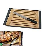 Dekoratives Bambus Brot Schneidebrett mit Krümelfach und Brotmesser