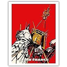 UdSSR - France - Russische Satelliten - Vintage Retro Fluggesellschaft Reise Plakat Poster von Georges Mathieu c.1968 - Kunstdruck - 28cm x 36cm
