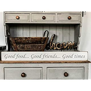 Austin Sloan Good Food.Good Friends.Good Times - Handmade wooden sign by vintage product designer