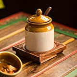 ExclusiveLane Old Fashioned Ceramic Jar With Hand Carved Tray -Pickle Jar Set For Dining Table Pickle Container Set Masala Container Kitchen Storage & Containers Kitchen Jar Set Table Top Spice Box Masala Container Spice Holders Masala Container Pickl