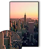 New York Bild Skyline – New York Poster Empire State Building – Wandbild New York City – Skyline, NYC, USA, Sunset Over Manhattan – Wanddeko – Kunstdruck (70 x 50 cm)
