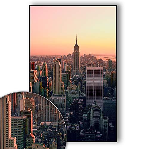 New York Poster Skyline - New York Bild Empire State Building - Wandbild New York City - Skyline, NYC, USA, Sunset Over Manhattan - Wanddeko - Kunstdruck (70 x 50 cm) - Nyc Kleines Poster
