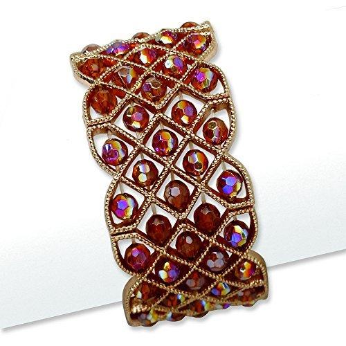 copper-tone-copper-acrylic-beads-stretch-bracelet-by-1928-jewelry