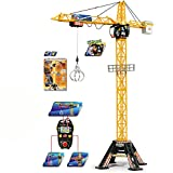 Baukran mit Kabelsteuerung und Laufkatze, 350 Grad drehbar, 120 cm - Spielzeug Kran Baustelle Kinderkran Lastenkran Turmkran