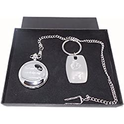 Muhammad Ali Gift Set, Muhammad Ali Quote Masons of London, Silver Plated Pocket Watch, Silver Plated Diamond Cut Keyring in Gift Box