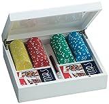Juego - Giunevere Game I Cofanetto In Legno Leccato I Poker Set Da 100 Fiches & 2 Mazzi Di Carte I Attrezzatura Poker & Texas Hold'em - Bianco