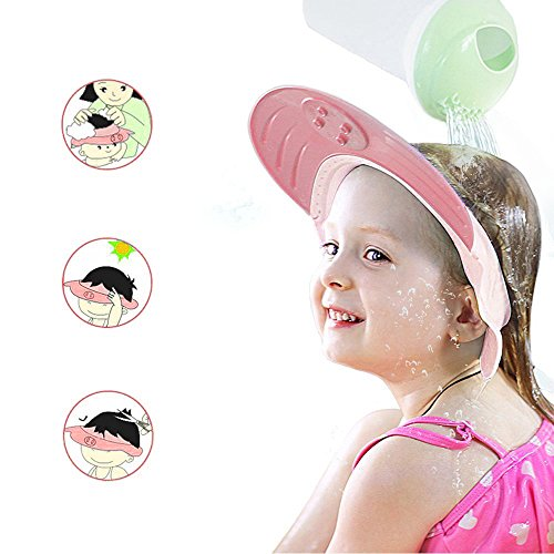 ONEDONE Adjustable Shower Cap Shampoo Protect Hats Funny Soft Silicone Shade Cap Suitable for Adults or Kids (Pink)