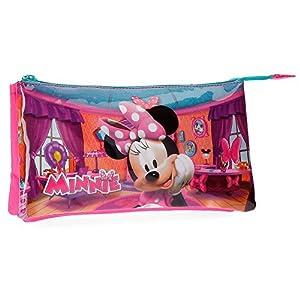 Disney- Portatodo 3 Compartimentos Minnie Smile, Color Rosa, 22 cm (4294361)