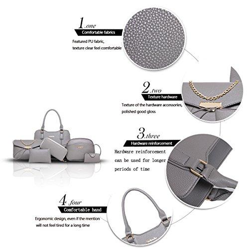 Sunas 2017 nuove borchie della borsa delle donne 6 insiemi di modo delle cuciture delle donne dei pattini hanno colpito il raccoglitore diagonale della spalla di colore della spalla grigio