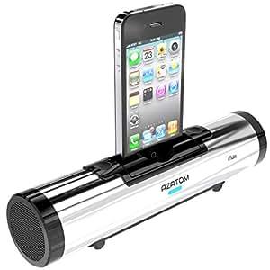 AZATOM iFLUTE Argento iPhone Docking Station 10W – Doppi altoparlanti stereo - Telecomando - Audio Premium portatile