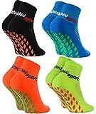 Rainbow Socks - Fille Garçon Chaussettes Antidérapantes de Sport - 4 paires - Bleu Noir Orange Vert - Taille Enfants UE 24-29