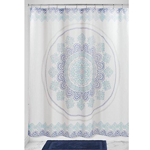 InterDesign Ezra Medallion Duschvorhang | 183,0 cm x 183,0 cm großer Vorhang für Badewanne und Dusche | Duschvorhang mit Ösen und tollem Muster | Polyester blau/bunt (Blau Vinyl Duschvorhang)