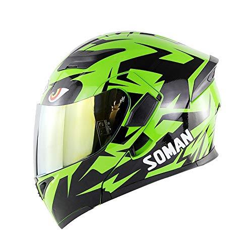 \t Grüner Full/Open Face Motorradhelm Modular Double Sun Visor Klappbarer Motorradhelm Mit DOT-Zertifizierung Gold-L=59-60cm Leopard-visor