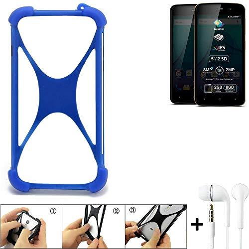 K-S-Trade Bumper Allview P6 Plus Schutzhülle Handyhülle Silikon Schutz Hülle Cover Case Silikoncase Silikonbumper TPU Softcase Smartphone, Blau (1x), Headphones