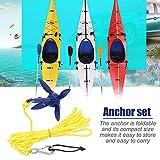 Morningtime Ankersatz Kajak Faltbare Aluminium Ankersatz mit 5m Seil 0,4 kg für Angelboote,...