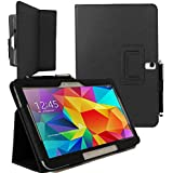 ENTITY®: BLACK - Samsung Galaxy Tab 4 10.1 inch (SM-T530/ SM-535) High Quality PU Leather Folio Flip Stand Safety Case Cover. Premium Executive Multi Function Horizontal Stand Case with Built-in Magnet for Sleep / Wakeup Feature For the New Samsung Galaxy Tab 4 10.1 inch Tablet + Free Screen Protector + Free Stylus Pen (Available in Multiple Colours) - *FREE SHIPMENT IN THE UK*