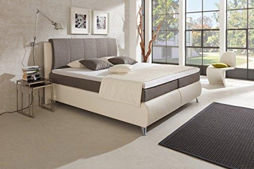Dreams4Home Boxspring Komfortbett 'Alexa' KT3 grau weiß, 100x200cm, 120x200cm, 140x200cm, 160x200cm, 180x200cm, 200x200cm, Hotelbett Einzelbett Doppelbett