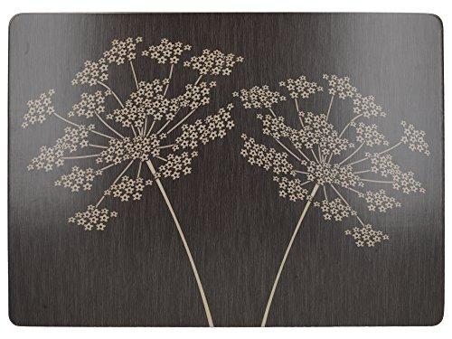 Creative Tops Silhouetten-Tischsets mit Unterseite aus Kork, Holz/MDF, groß, Schwarz, 4 Stück