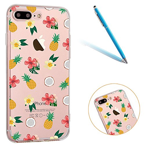 iPhone 6 Handyhülle, CLTPY iPhone 6s Durchsichtig Slim Fit TPU Schutzfall mit Luxus Schöne Muster für Apple iPhone 6/6s + 1 x Freier Stylus - Rosa Dinosaurier Bunte Ananas