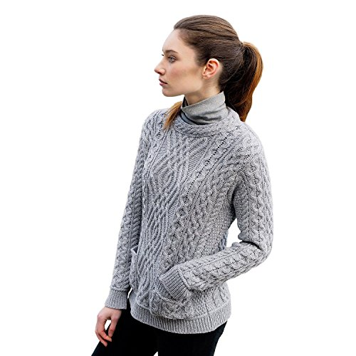 Irische Aran-damen-pullover (The Irish Store - Irish Gifts from Ireland Damen Pullover Gr. M, Grau - Grau)