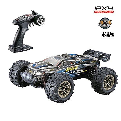 RC Geländewagen Funkferngesteuerte Auto 1:16 RC Crawler 4WD Motor 36 km/h IPX4 Wasserdichtes Offroad Monstertruck Truggy Beste Geschenk für die Kinder (Blau)