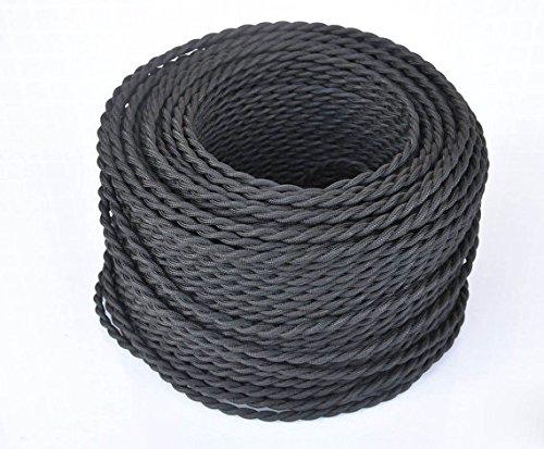 Cable trenzado vintage de 5 metros, 2 núcleos, negro, trenzado, trenzado, cable de iluminación de seda flexible, cable eléctrico DIY