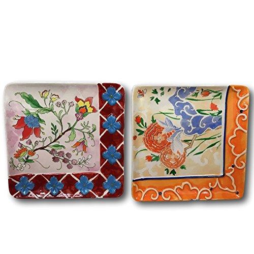 allasta Alice Drew Dekorative Quadratisch Servieren Teller Floral Asiatische Inspiriert Set von 2 Floral 2 Teller