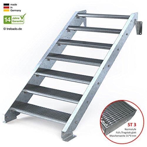 Außentreppe 7 Stufen 90 cm Laufbreite - ohne Geländer - Anstellhöhe variabel von 116 cm bis 140 cm - Gitterroststufe ST3 - feuerverzinkte Stahltreppe mit 900 mm Stufenlänge als montagefertiger Bausatz