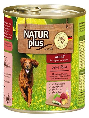 NATUR plus Hundefutter ADULT mit 70% Rind - getreidefrei (6 x 800 - Plus Natur Hundefutter