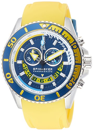 Spinnaker Amalfi Diver Men's Quartz Watch with Blue Dial Chronograph Display on Yellow Silicon Band SP-5021-08