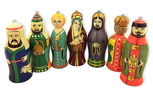 Krippe Russische Set von 7Weihnachten, Holz handbemalt Figuren Ornaments 31/5,1cm - Christmas Tree Nativity Set