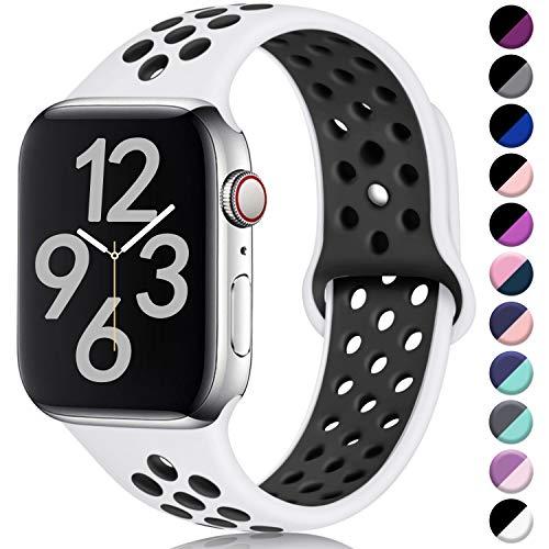 Hamile Kompatibel für Apple Watch Armband 42mm 44mm,Dual Farbe Weiches Silikon Atmungsaktiv Sportarmband für Apple Watch Series 5 Series 4 Series 3 Series 2 Series 1, M/L Weiße/Schwarz