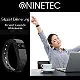 NINETEC Smartfit F2HR Rot Fitness Tracker mit Pulsmesser Bluetooth 4.0 Sport Armband Schrittzähler Aktivitätsarmband Fitnessarmband Sportuhr mit Schlafanalyse Kalorienanalyse SMS Anrufe - 6