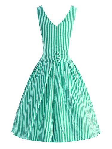 iLover Vintage 40s 50s 60s robe rayée Audrey Rockabilly Swing robe de fête de pique-nique Vert