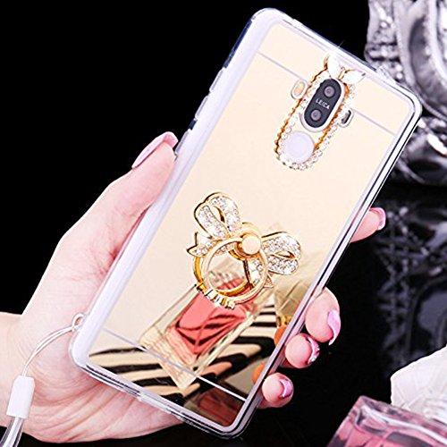 Custodia Cover per Huawei P9 lite, Ukayfe Cover Specchio Lusso Placcatura Lucido di Cristallo di Scintillio Strass Diamante Glitter Caso per iPhone 7 Plus[Crystal TPU] [Shock-Absorption] Protettiva Ul Arco di Diamante Oro 3#