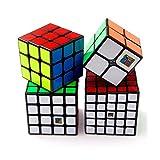 HJXDtech Moyu cubo de la velocidad conjunto de 2x2 3x3 4x4 5x5 Negro Cubo Mágico Smooth Rompecabezas Cubo set con el embalaje de regalo