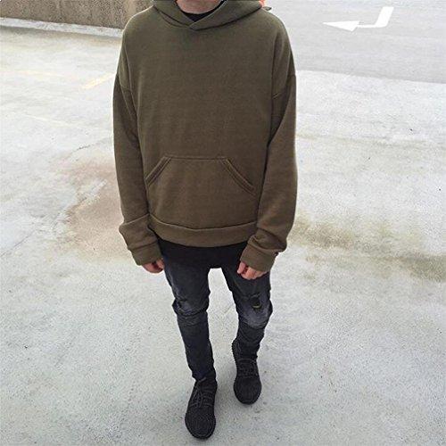Sissiren Felpa con Cappuccio Oversize Uomo Pullover Verde