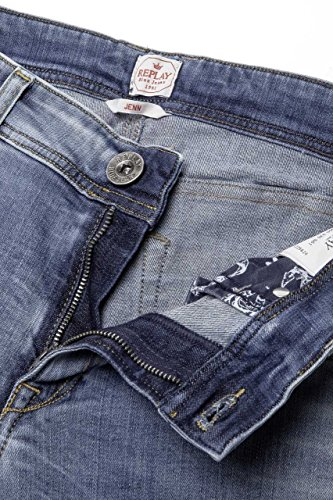 Replay Damen Jeans Straight Leg JENN 10.5 OZ GREEN CAST POWER STRETCH DENIM WX647 335 561 010 Hellblau