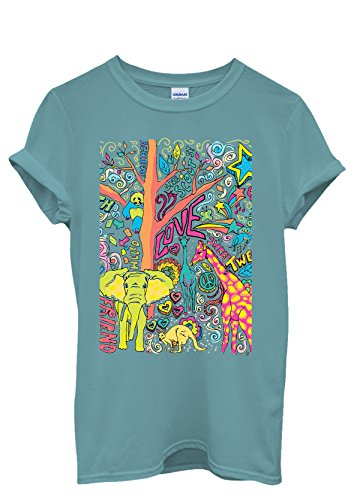 Happy Animals Elephant Giraffe Peace Cool Men Women Damen Herren Unisex Top T Shirt Licht Blau