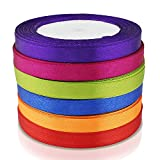 PsmGoods® Assorted Curling Ribbon Roll 6PCS 10mm Wide 25YD Grosgrain Ribbon for Wedding Party Card Making Decoration (Deep 6 Pack)
