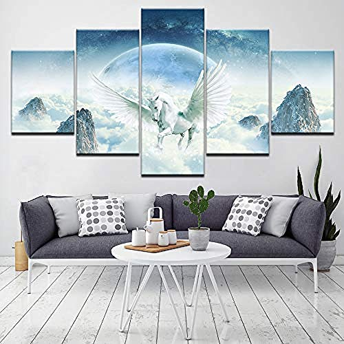 FSKJWLH Lienzo Modular Poster HD Imprimir Decoración Pared 5 Piezas Animal Unicornio País de Las Maravillas Paisajes Pintura Arte Cuadros enmarcados @ 20x35_20x45_20x55cm enmarcados