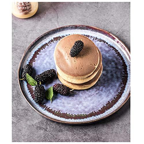 YYF Assiette Western en céramique de couleur - Assiette à dîner Underglaze/assiette plate/bol à soupe/bol à salade peints à la main (Taille : 21.5cm)