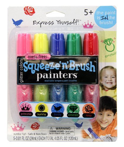 elmers-painters-squeeze-n-brush-washable-tempera-paint-brushes-set-of-5-color-brushes-glitter-colors