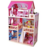 XL Dolls' House Wood 90cm with Furniture by Tiktaktoo