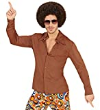 70er Jahre Retro Hemd mit und ohne Muster Disco Herren Kostüm Siebziger Schlager, Größe:L/XL;Farbe:Braun